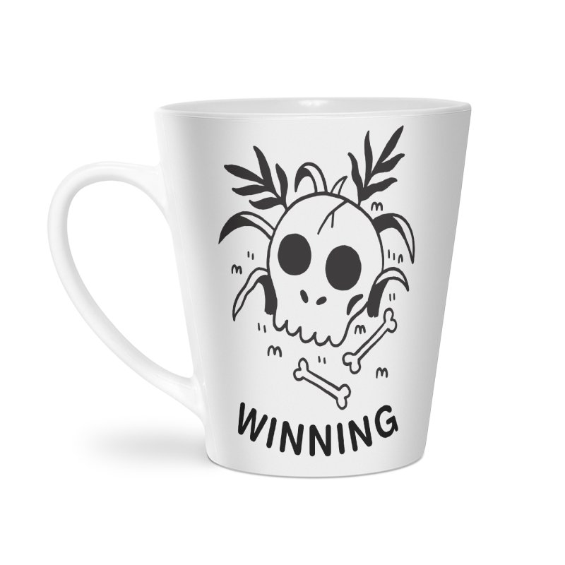 WINNING! SKULL! (blk) Accessories Latte Mug by VOID MERCH