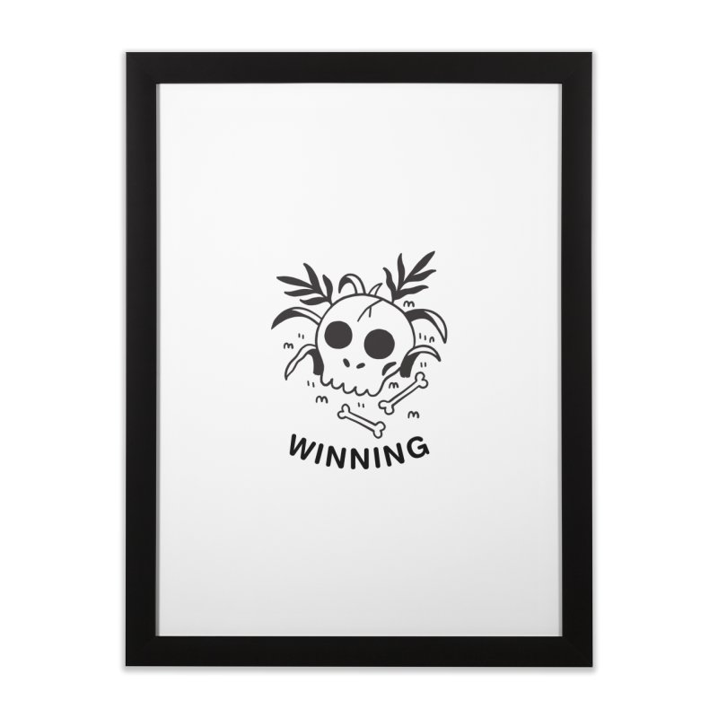 WINNING! SKULL! (blk) Home Framed Fine Art Print by VOID MERCH