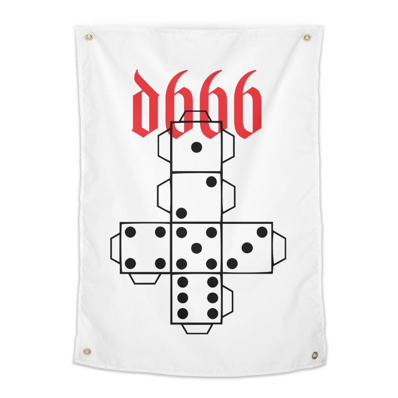 d666 (blk) Home Tapestry by VOID MERCH