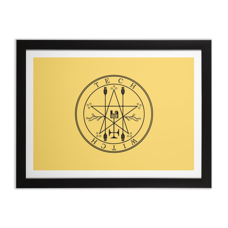 TECH WITCH (blk) Home Framed Fine Art Print by VOID MERCH