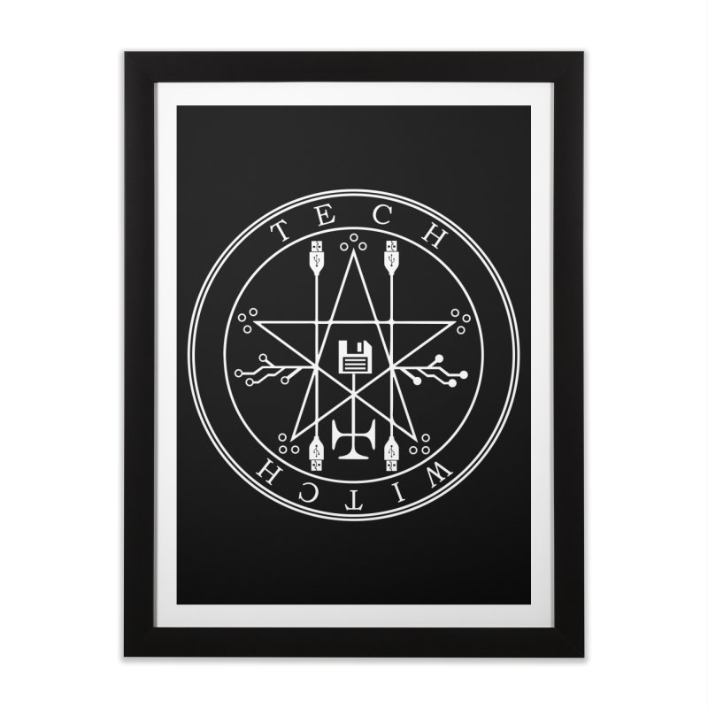 TECH WITCH (wht) Home Framed Fine Art Print by VOID MERCH