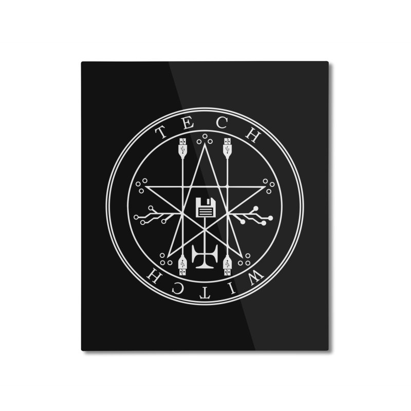 TECH WITCH (wht) Home Mounted Aluminum Print by VOID MERCH