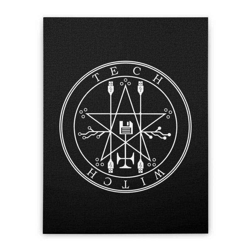 TECH WITCH (wht) Home Stretched Canvas by VOID MERCH