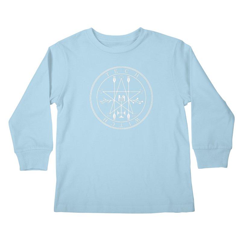 TECH WITCH (wht) Kids Longsleeve T-Shirt by VOID MERCH