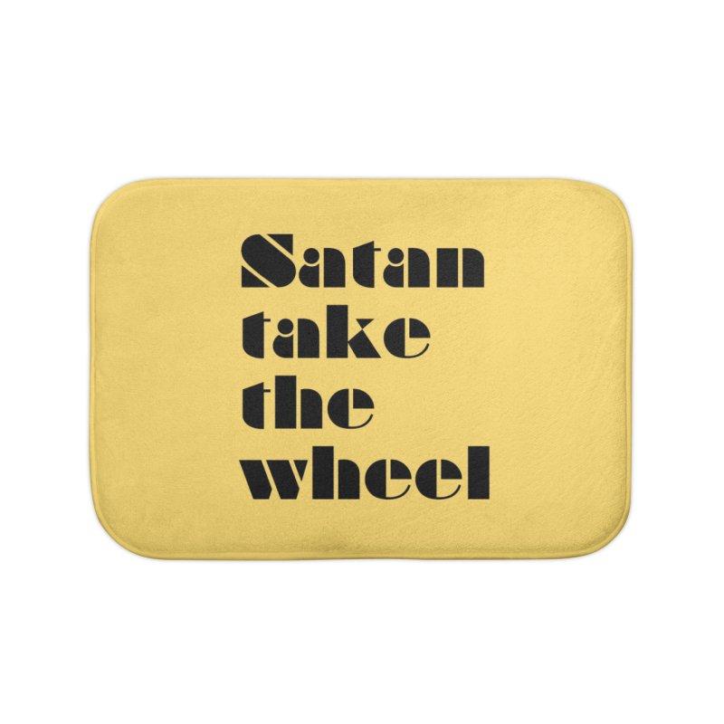 SATAN TAKE THE WHEEL (blk) Home Bath Mat by VOID MERCH