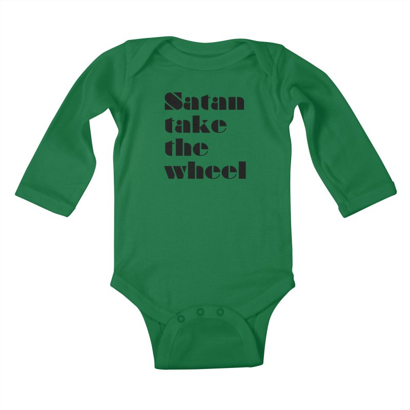 SATAN TAKE THE WHEEL (blk) Kids Baby Longsleeve Bodysuit by VOID MERCH