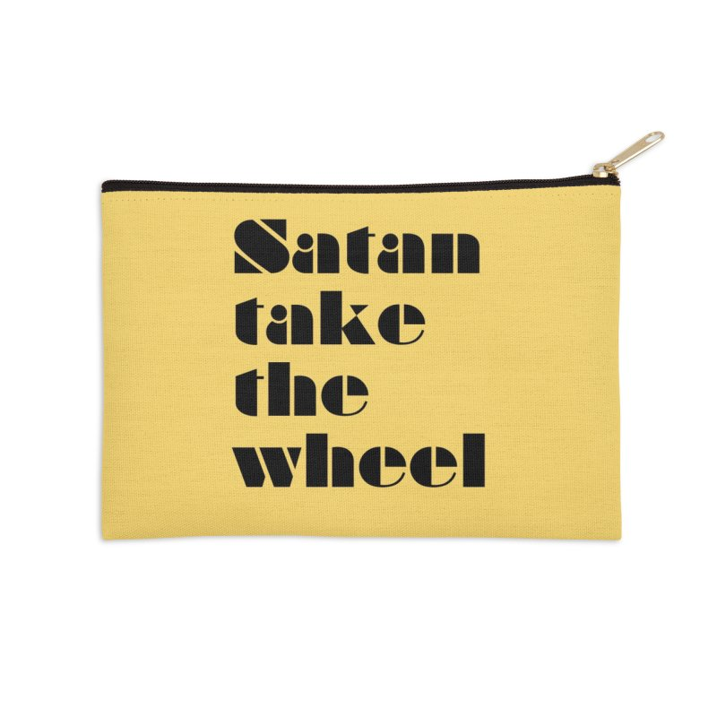SATAN TAKE THE WHEEL (blk) Accessories Zip Pouch by VOID MERCH