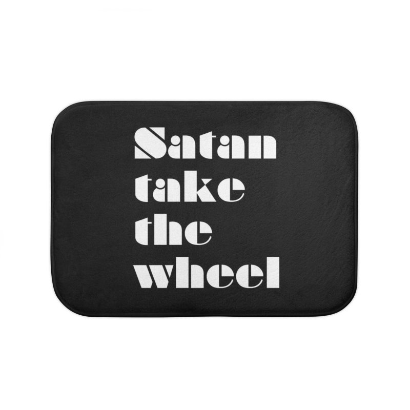 SATAN TAKE THE WHEEL (wht) Home Bath Mat by VOID MERCH
