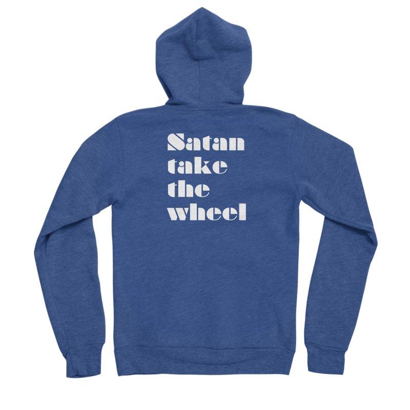 SATAN TAKE THE WHEEL (wht) Women's Sponge Fleece Zip-Up Hoody by VOID MERCH