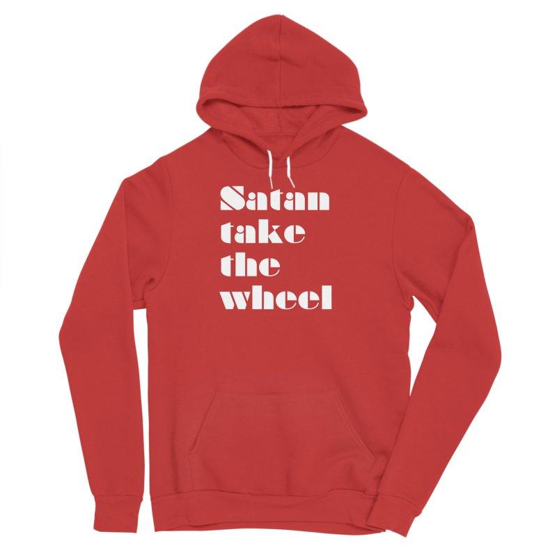 SATAN TAKE THE WHEEL (wht) Men's Sponge Fleece Pullover Hoody by VOID MERCH