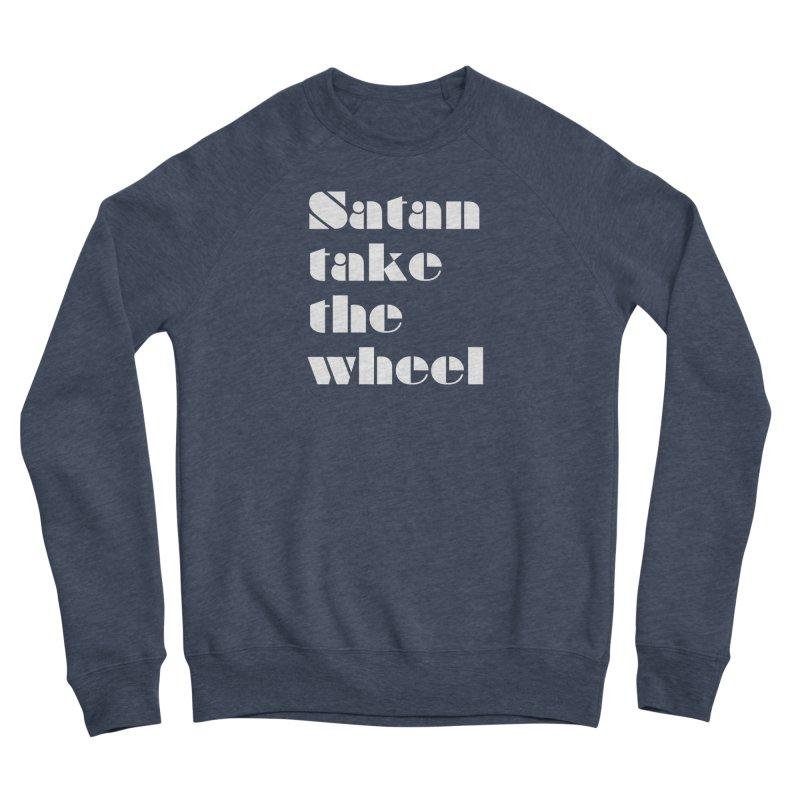 SATAN TAKE THE WHEEL (wht) Men's Sponge Fleece Sweatshirt by VOID MERCH
