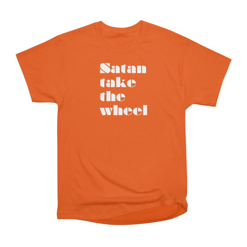SATAN TAKE THE WHEEL (wht) Men's T-Shirt by VOID MERCH
