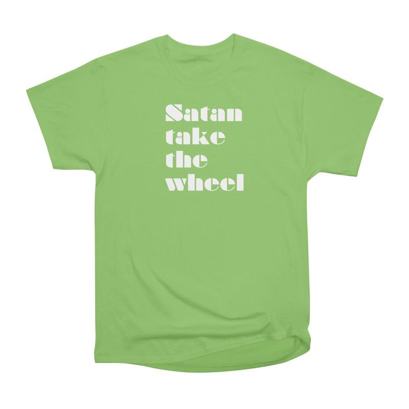 SATAN TAKE THE WHEEL (wht) Women's Heavyweight Unisex T-Shirt by VOID MERCH