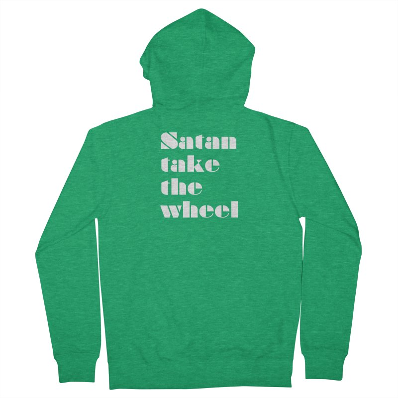 SATAN TAKE THE WHEEL (wht) Women's French Terry Zip-Up Hoody by VOID MERCH