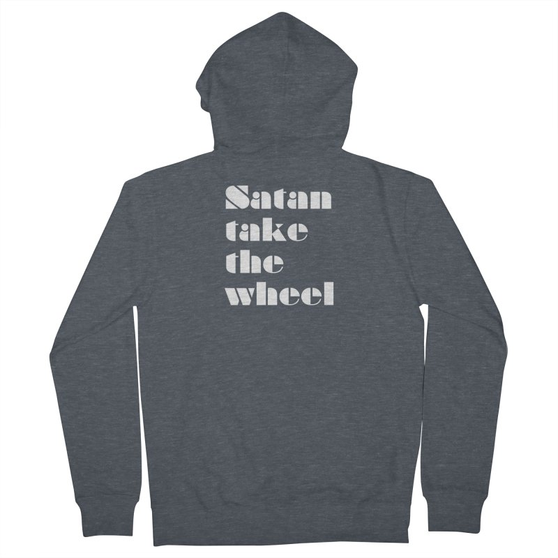 SATAN TAKE THE WHEEL (wht) Men's French Terry Zip-Up Hoody by VOID MERCH