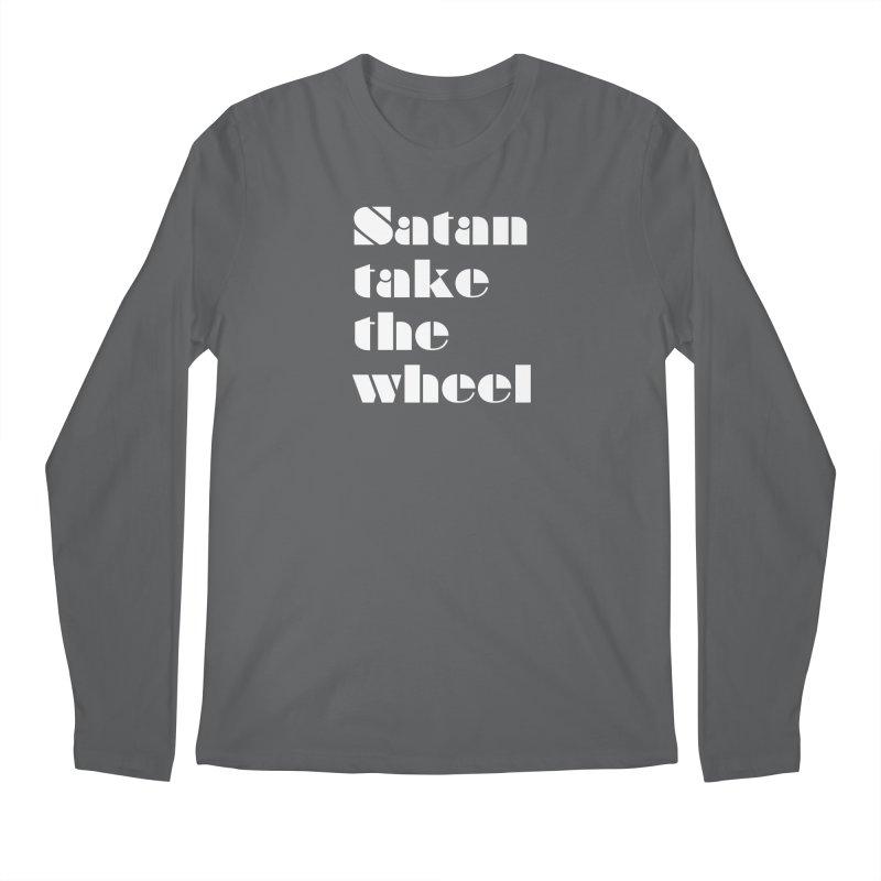 SATAN TAKE THE WHEEL (wht) Men's Regular Longsleeve T-Shirt by VOID MERCH