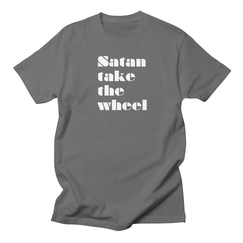 SATAN TAKE THE WHEEL (wht) Men's T-Shirt by VOID MERCH