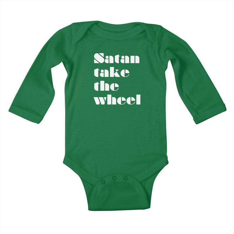 SATAN TAKE THE WHEEL (wht) Kids Baby Longsleeve Bodysuit by VOID MERCH