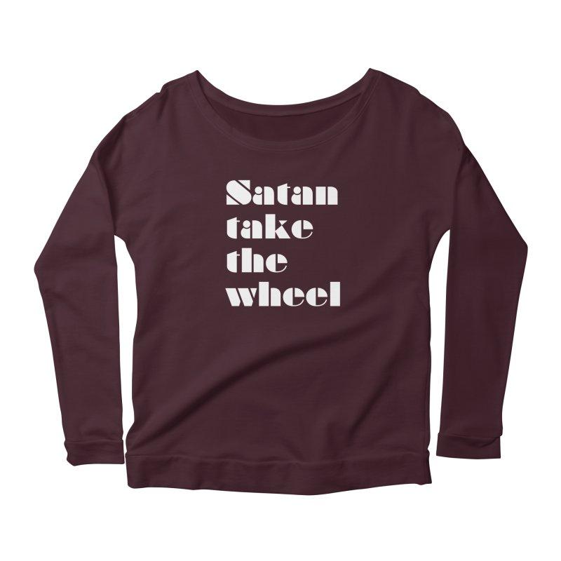 SATAN TAKE THE WHEEL (wht) Women's Scoop Neck Longsleeve T-Shirt by VOID MERCH