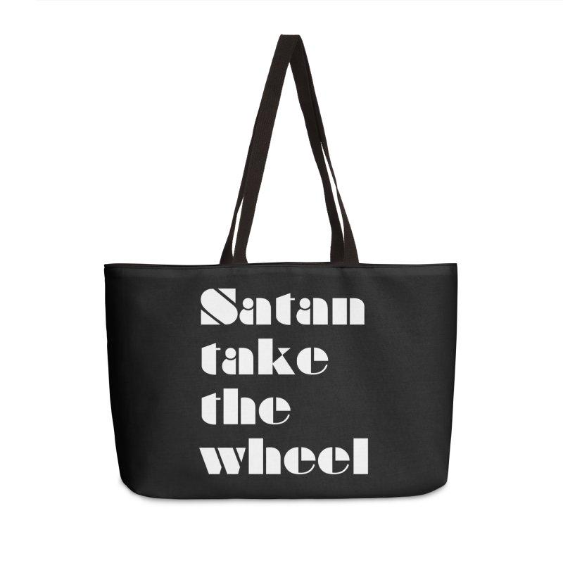 SATAN TAKE THE WHEEL (wht) Accessories Weekender Bag Bag by VOID MERCH