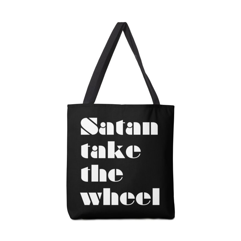 SATAN TAKE THE WHEEL (wht) Accessories Tote Bag Bag by VOID MERCH