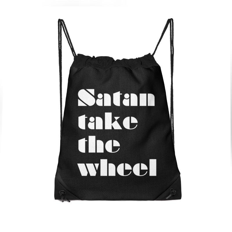 SATAN TAKE THE WHEEL (wht) Accessories Drawstring Bag Bag by VOID MERCH