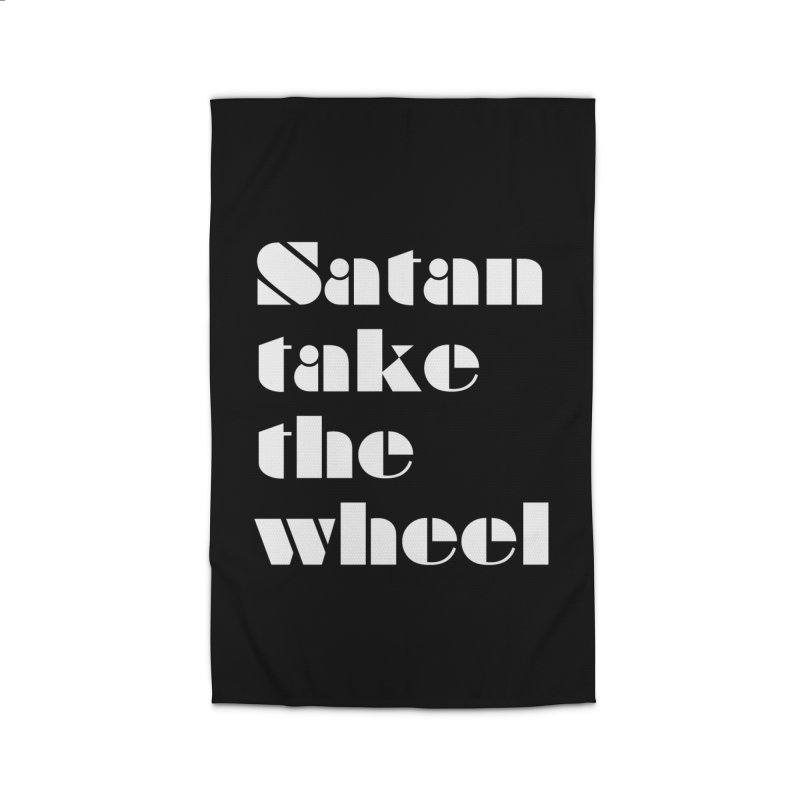 SATAN TAKE THE WHEEL (wht) Home Rug by VOID MERCH