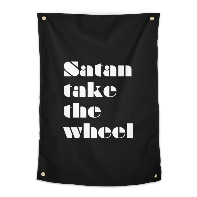 SATAN TAKE THE WHEEL (wht) Home Tapestry by VOID MERCH