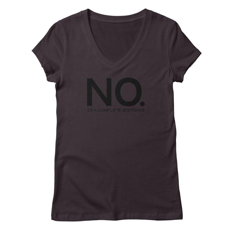 NO. Is a complete sentence.(blk lrg) Women's Regular V-Neck by VOID MERCH