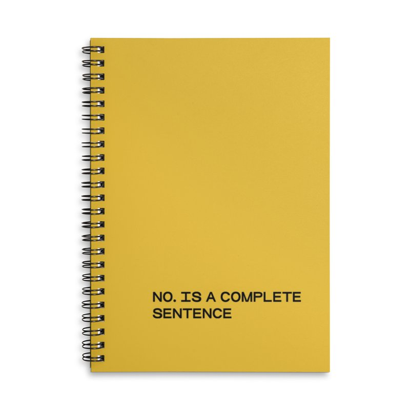 NO. Is a complete sentence (blk) Accessories Lined Spiral Notebook by VOID MERCH