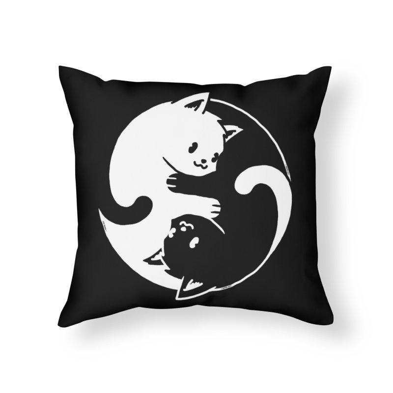 Yin Yang Cat Home Throw Pillow by Vó Maria's Artist Shop