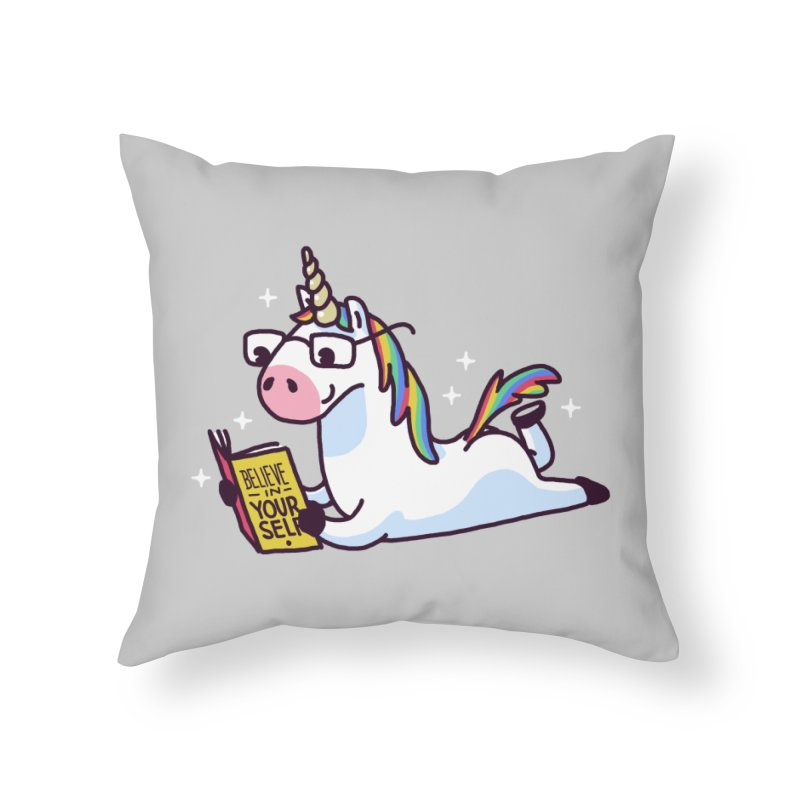 Unicorn Reading Book Believe in Yourself Floor Home Throw Pillow by Vó Maria's Artist Shop