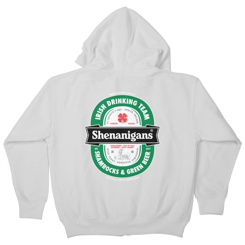 Shenanigans Beer Label Kids Zip-Up Hoody by Vó Maria's Artist Shop