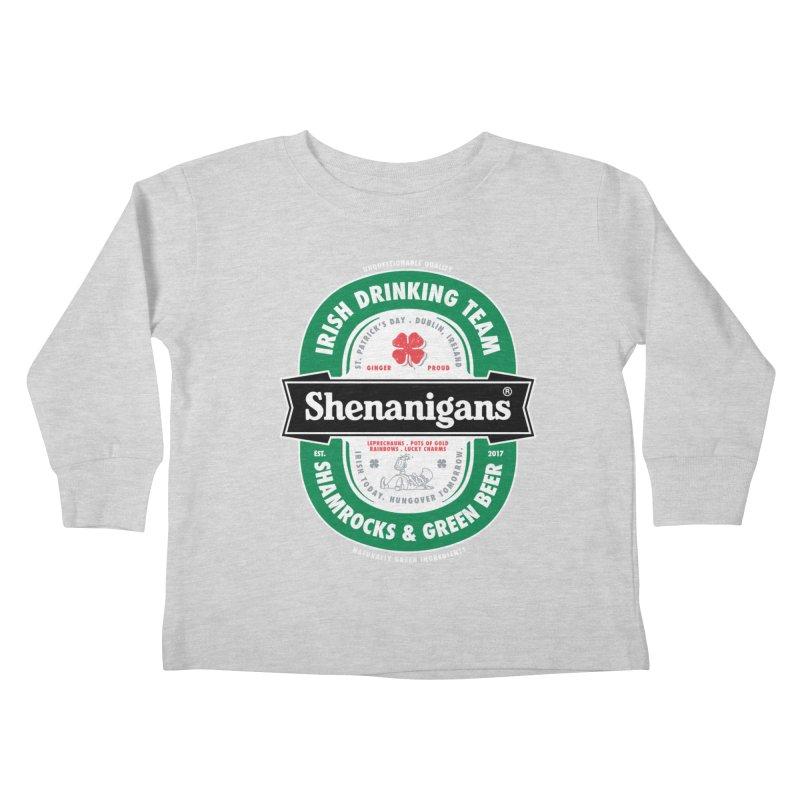 Shenanigans Beer Label Kids Toddler Longsleeve T-Shirt by Vó Maria's Artist Shop