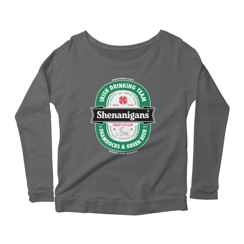 Shenanigans Beer Label Women's Longsleeve Scoopneck  by Vó Maria's Artist Shop
