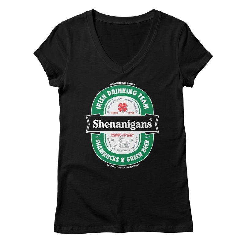 Shenanigans Beer Label Women's V-Neck by Vó Maria's Artist Shop