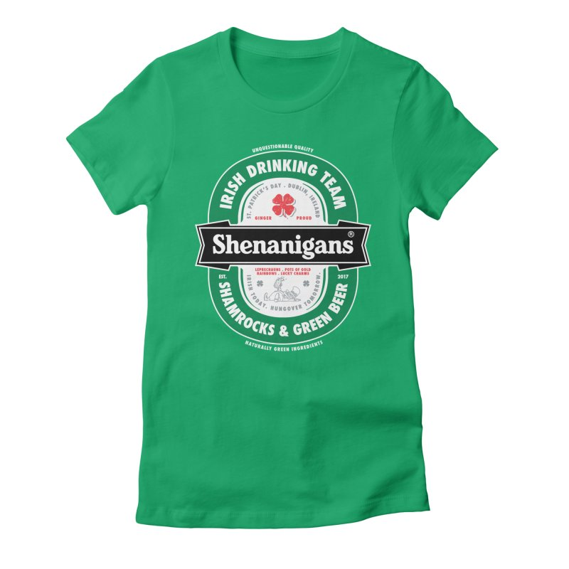 Shenanigans Beer Label Women's Fitted T-Shirt by Vó Maria's Artist Shop