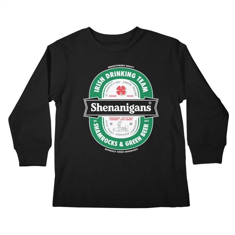 Shenanigans Beer Label Kids Longsleeve T-Shirt by Vó Maria's Artist Shop