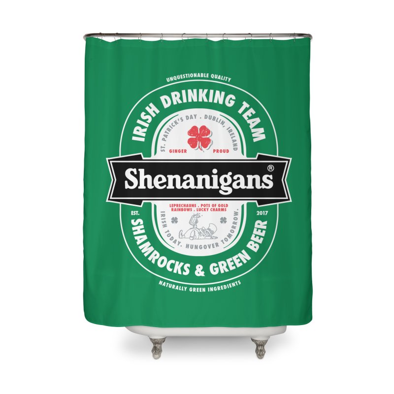 Shenanigans Beer Label Home Shower Curtain by Vó Maria's Artist Shop