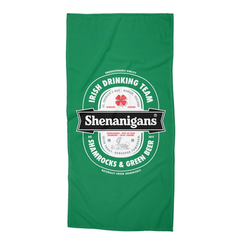 Shenanigans Beer Label Accessories Beach Towel by Vó Maria's Artist Shop