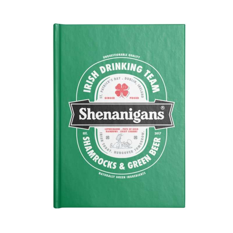 Shenanigans Beer Label Accessories Notebook by Vó Maria's Artist Shop