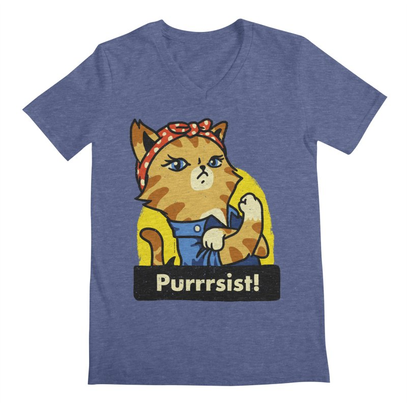 Purrrsist! (version 3) Men's V-Neck by Vó Maria's Artist Shop