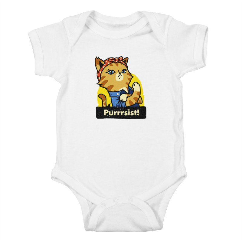 Purrrsist! (version 3) Kids Baby Bodysuit by Vó Maria's Artist Shop