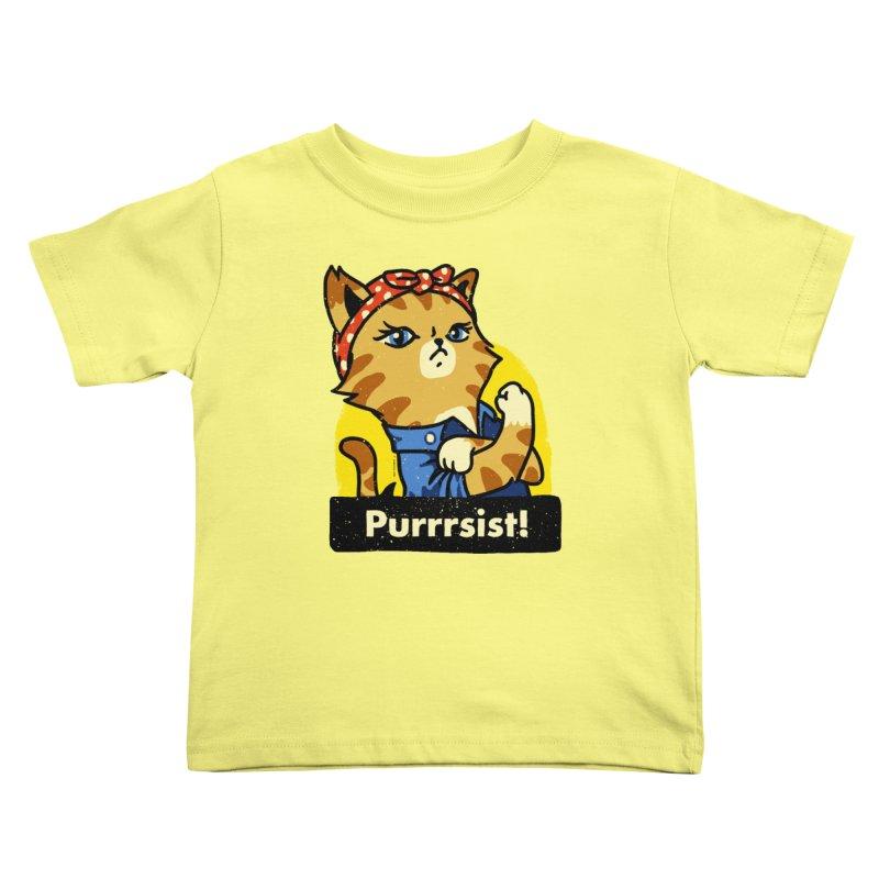 Purrrsist! (version 3) Kids Toddler T-Shirt by Vó Maria's Artist Shop