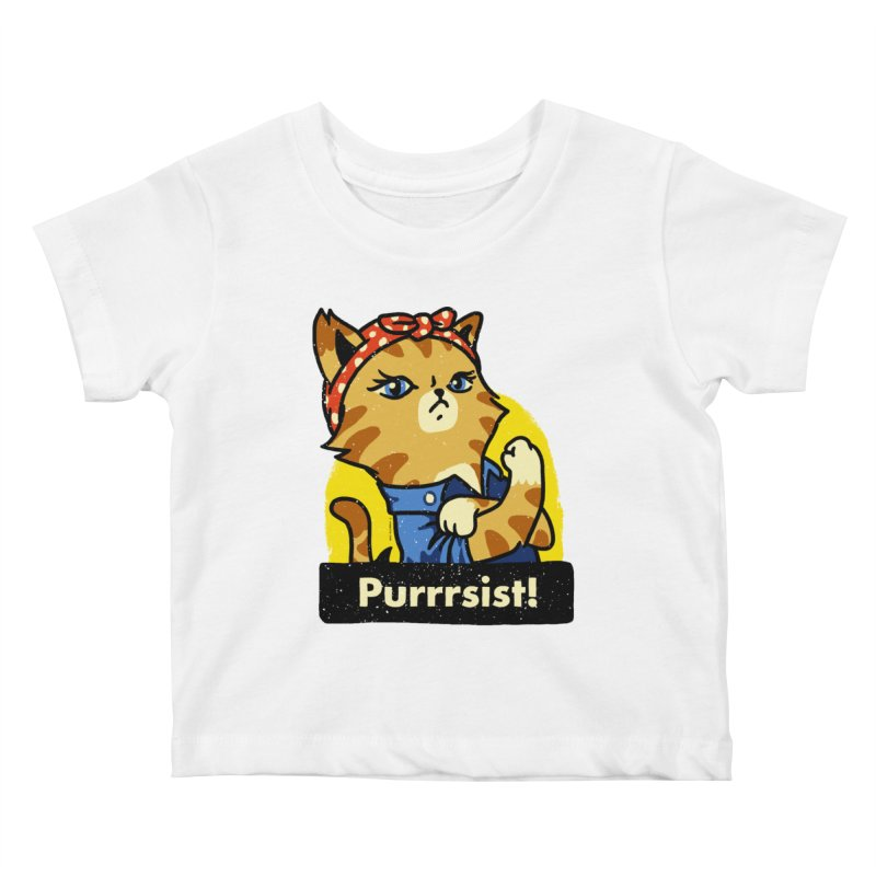 Purrrsist! (version 3) Kids Baby T-Shirt by Vó Maria's Artist Shop