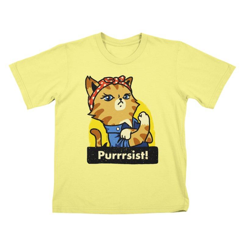 Purrrsist! (version 3) Kids T-shirt by Vó Maria's Artist Shop