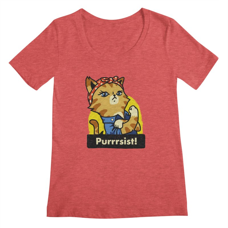 Purrrsist! (version 3) Women's Scoopneck by Vó Maria's Artist Shop