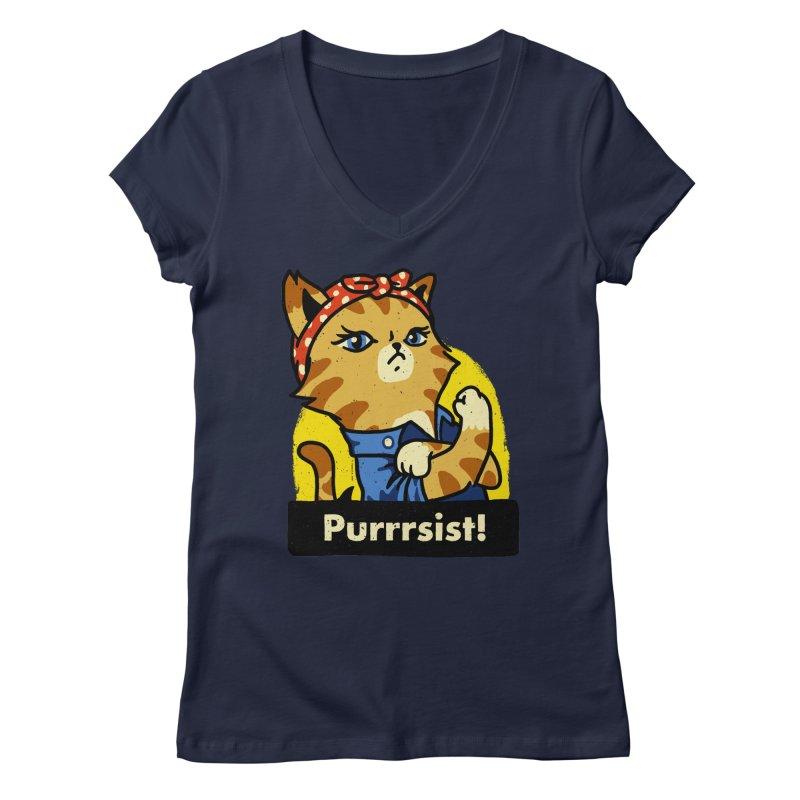 Purrrsist! (version 3) Women's V-Neck by Vó Maria's Artist Shop