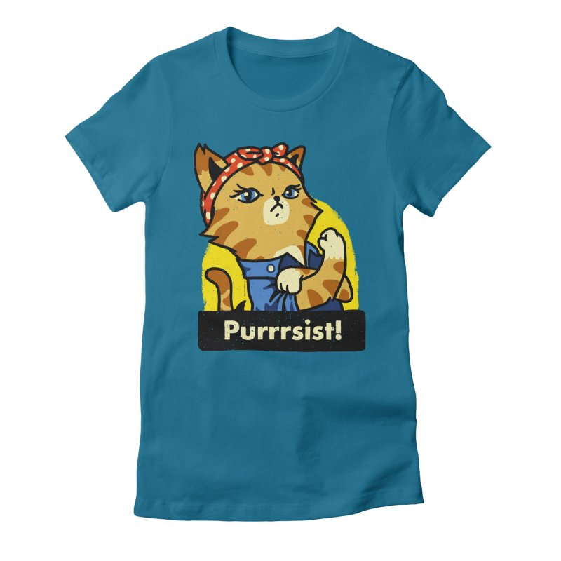 Purrrsist! (version 3) Women's Fitted T-Shirt by Vó Maria's Artist Shop