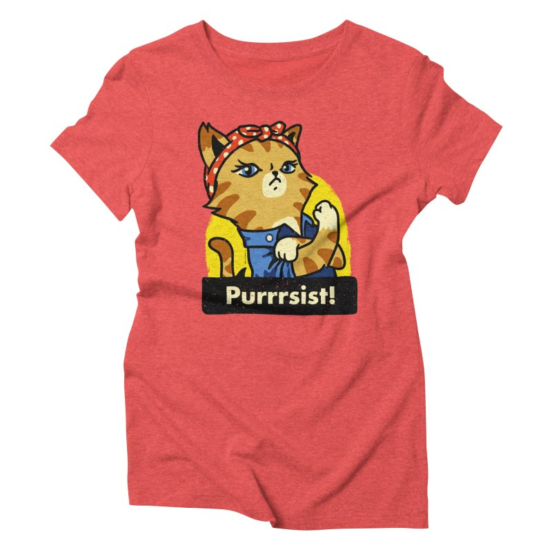 Purrrsist! (version 3) Women's Triblend T-shirt by Vó Maria's Artist Shop